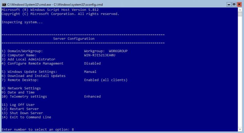 Hyper-V 2016 Configuration Network Settings