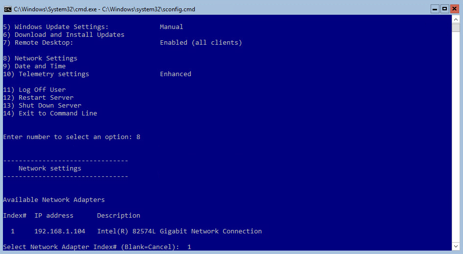 Hyper-V 2016 Configuration network card