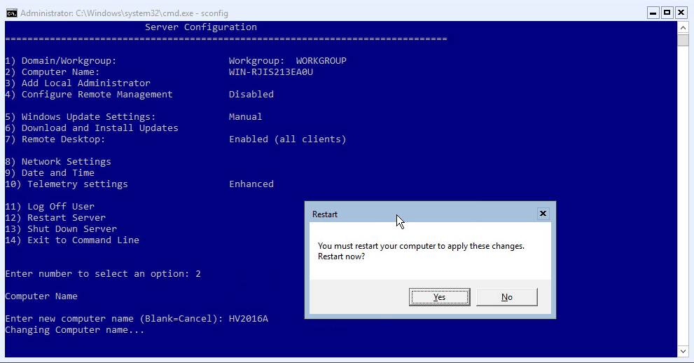 Hyper-V 2016 Configuration Change Name