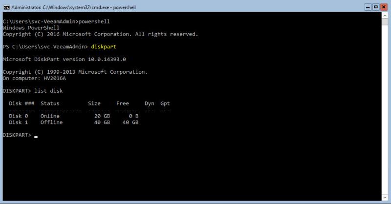 Hyper-V 2016 Storage list disk