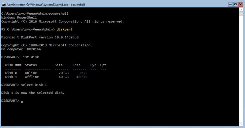 Hyper-V 2016 Storage diskpart select disk