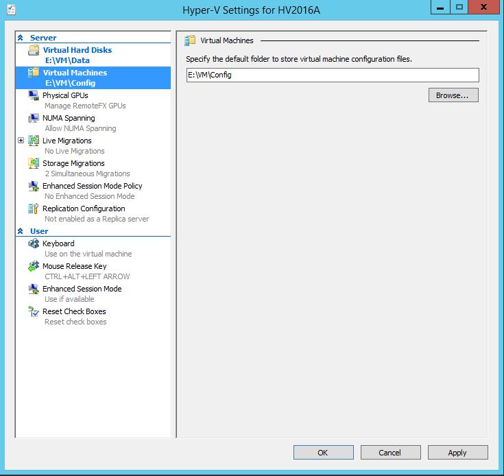 Connect Hyper-V 2016 VM settings
