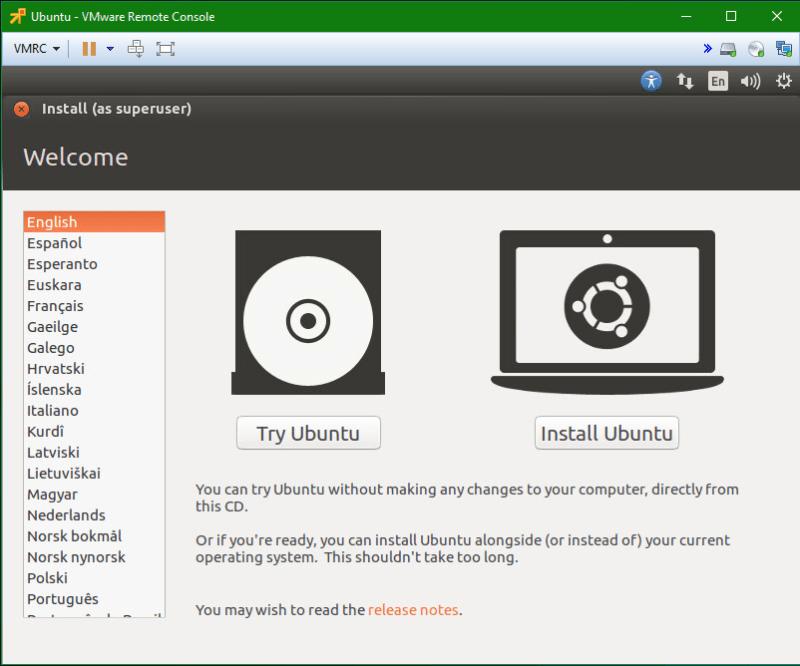 Linux Ubuntu vm install