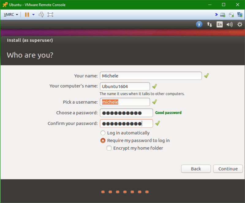 Linux Ubuntu vm user