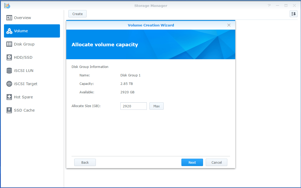 Synology LUN Volume Size