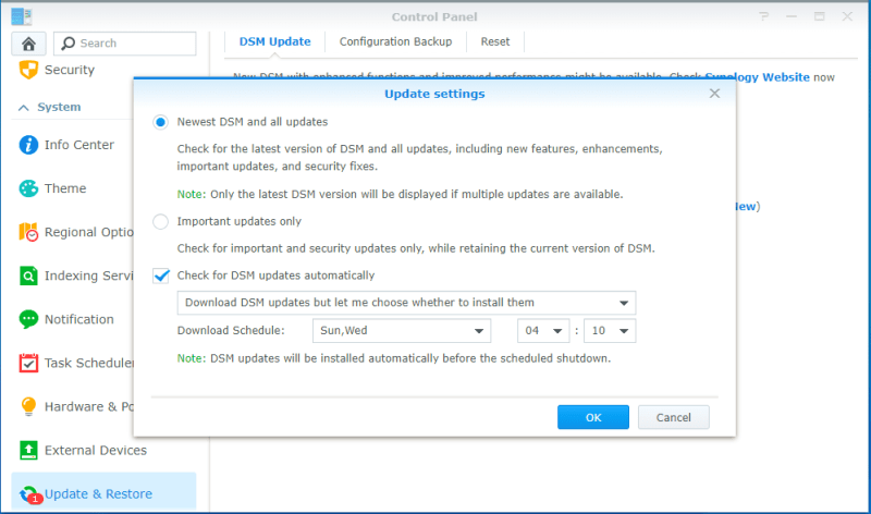 Update Synology Settings