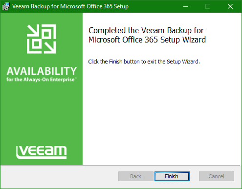 Backup Microsoft Office 365 install complete