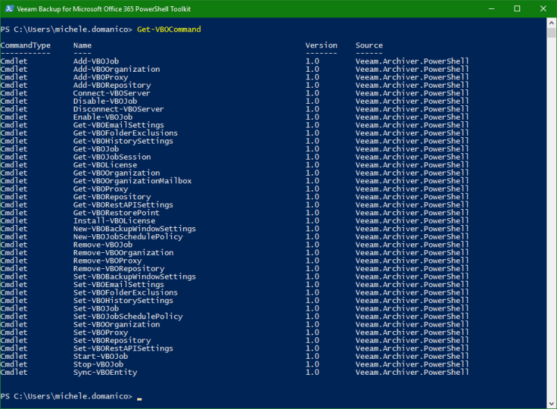 Backup Microsoft Office 365 PowerShell commands