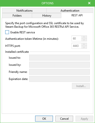 Backup Microsoft Office 365 Rest API option