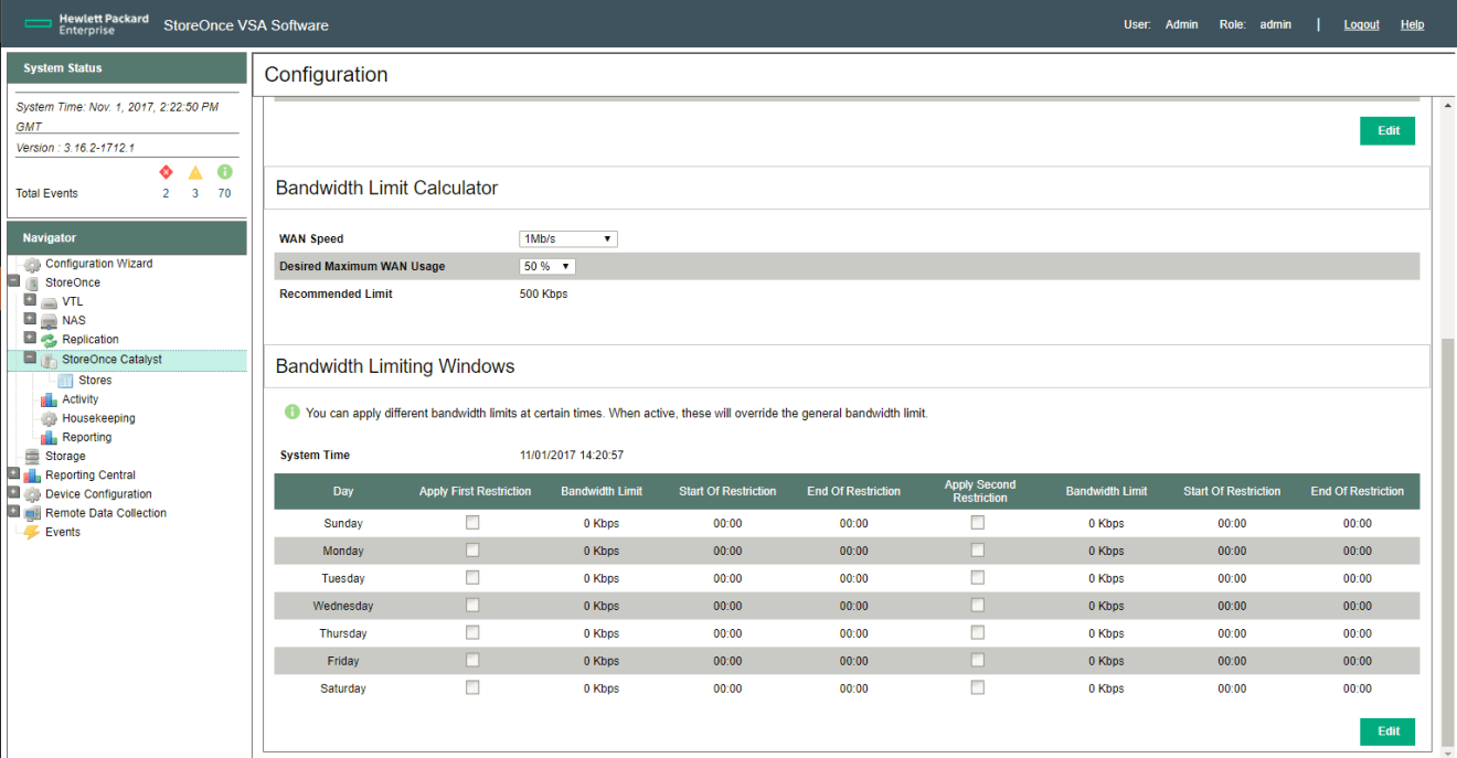 HPE StoreOnce Catalyst bandwidth limit