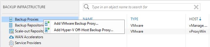 Add Hyper-V Off-Host Backup Proxy