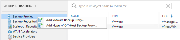 Add Hyper-V Off-Host Backup Proxy