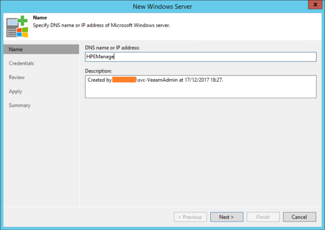 HPE StoreOnce VTL Veeam add server