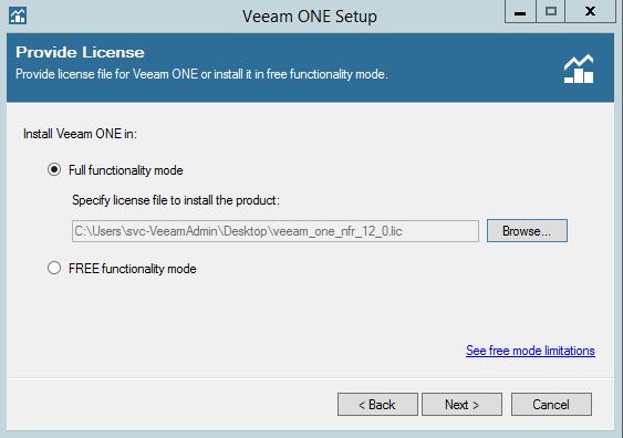 Veeam One functionality mode