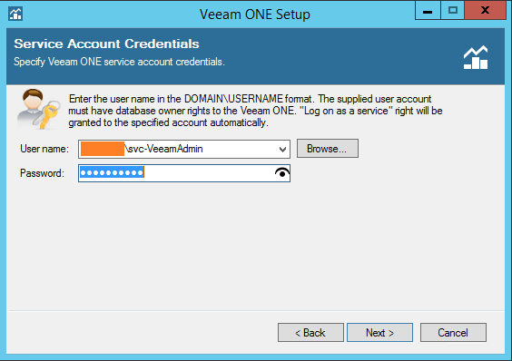 Veeam One account credentials