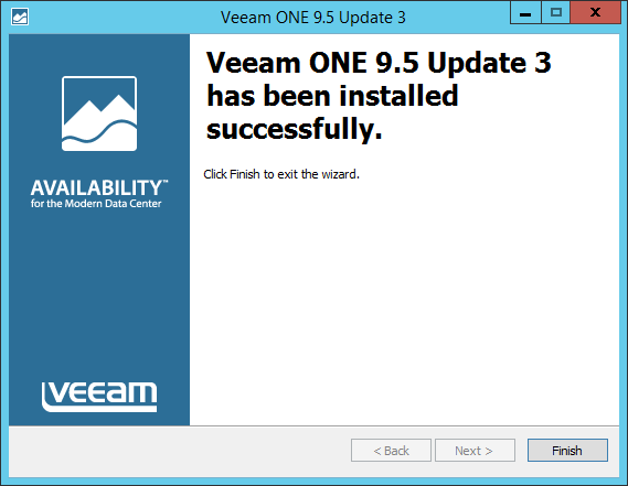 Upgrade Veeam One install successful