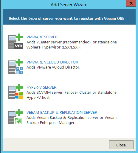 Veeam One Monitor Add server