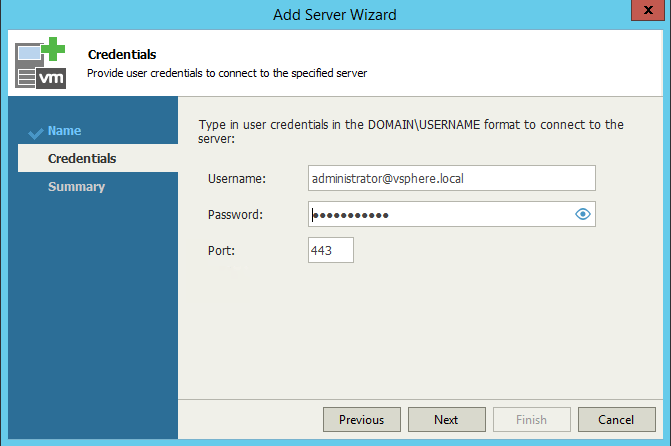 Veeam One Monitor add server credentials