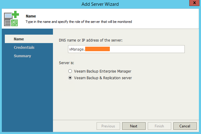 Veeam One Monitor Add VBR Server