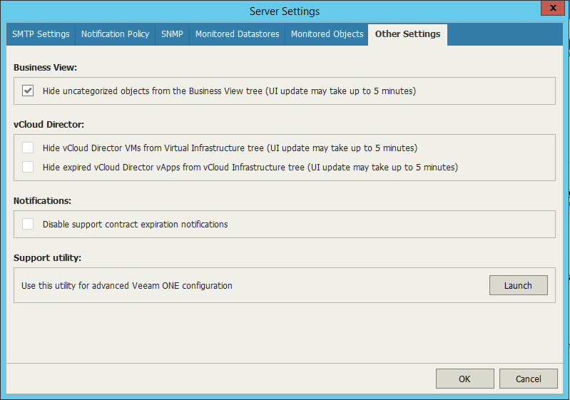 Veeam One Configuration other settings