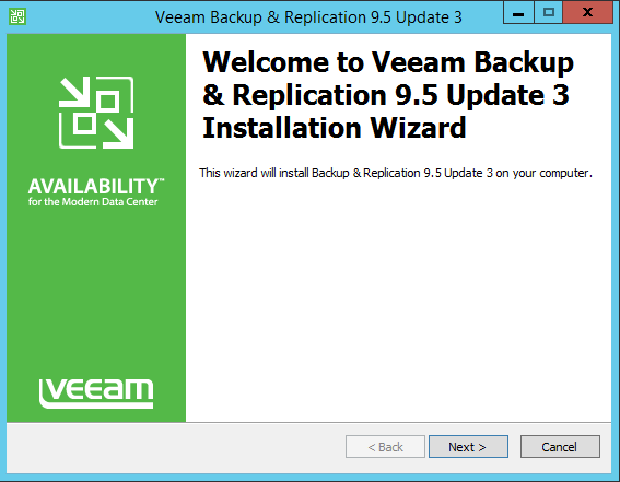 Upgrade Veeam Backup Wizard