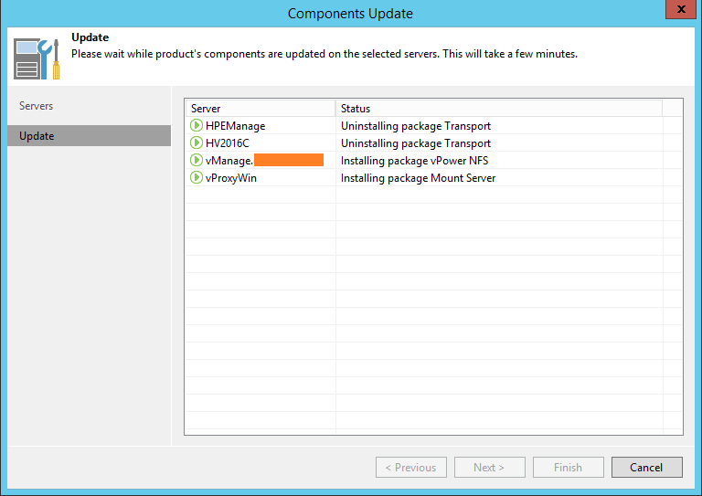 Upgrade Veeam Backup components update