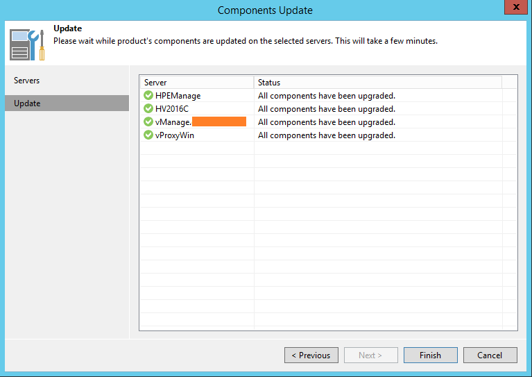 Upgrade Veeam Backup components updated