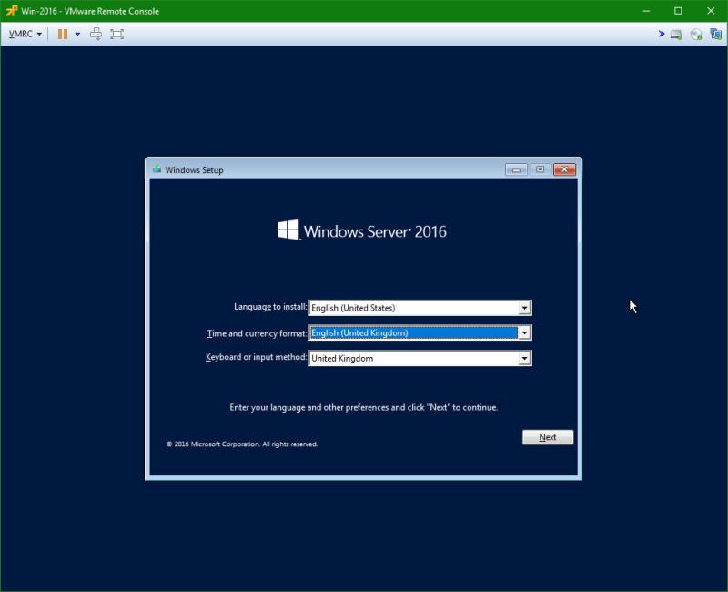 domalab.com Install Windows Server 2016 wizard