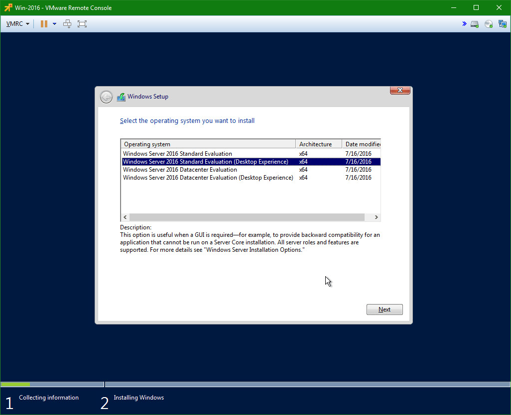 domalab.com Install Windows Server 2016 operating system selection