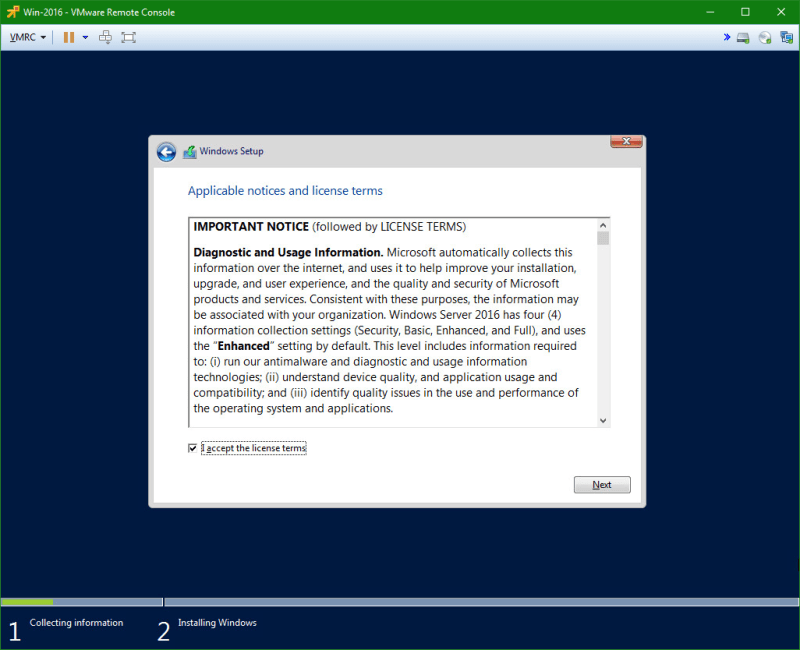 domalab.com Install Windows Server 2016 license agreement