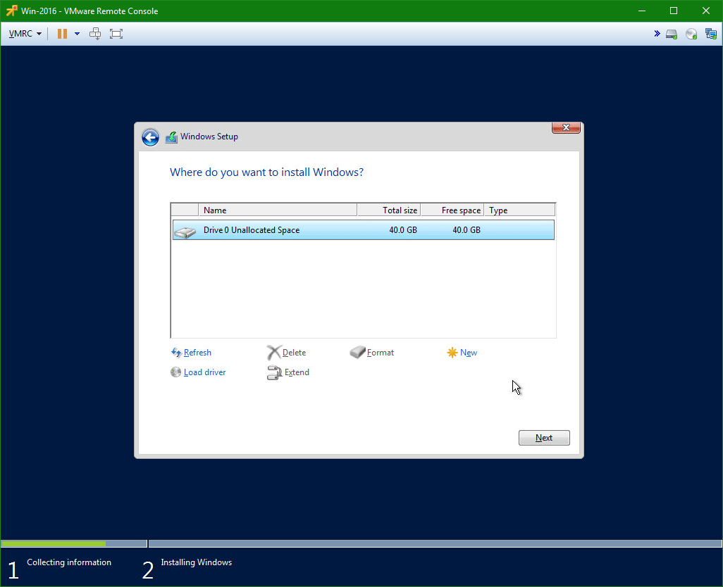 domalab.com Install Windows Server 2016 drive selection