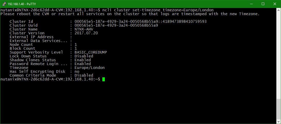 domalab.com configure Nutanix timezone check zone