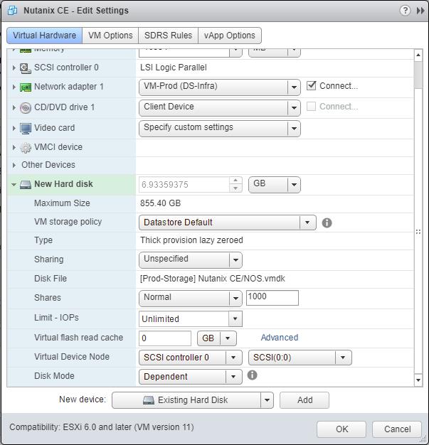 domalab.com Deploy Nutanix nested VMware add disk os