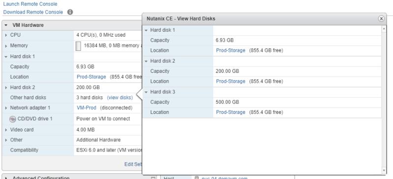 domalab.com Deploy Nutanix nested VMware disk summary