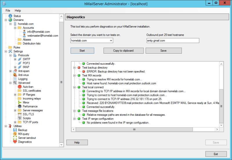 domalab.com Configure hMailServer test smtp.gmail.com