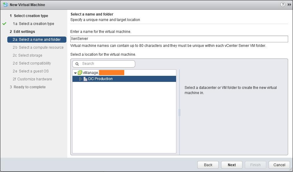 domalab.com nested XenServer select folder VMware vSphere