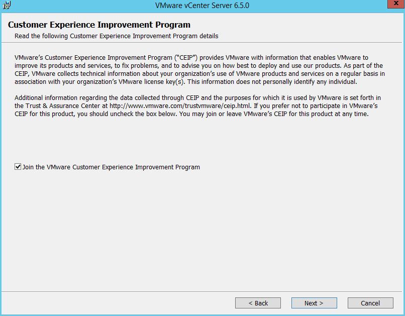 Domalab.com vCenter Upgrade CEIP