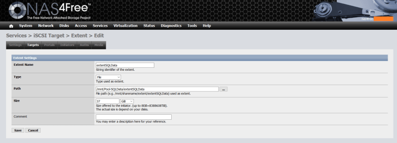 domalab.com NAS4Free Pool storage extent