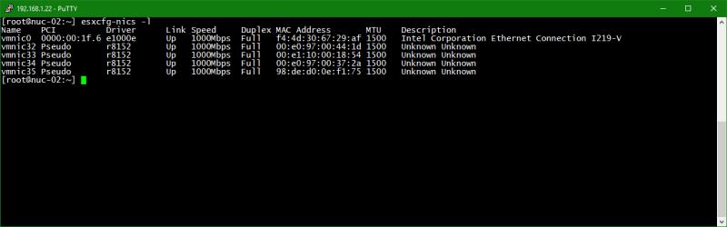 domalab.com Upgrade vSphere 6.5 list physical nics