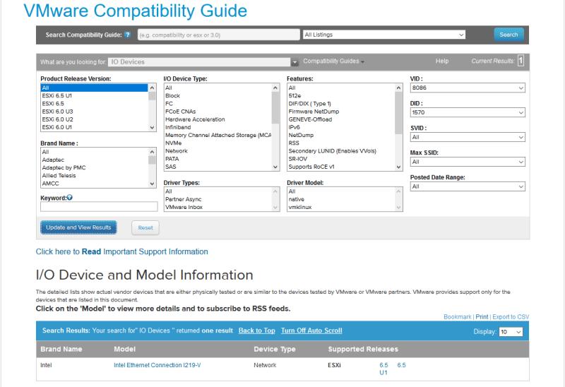 domalab.com Upgrade vSphere 6.5 vmware HCL