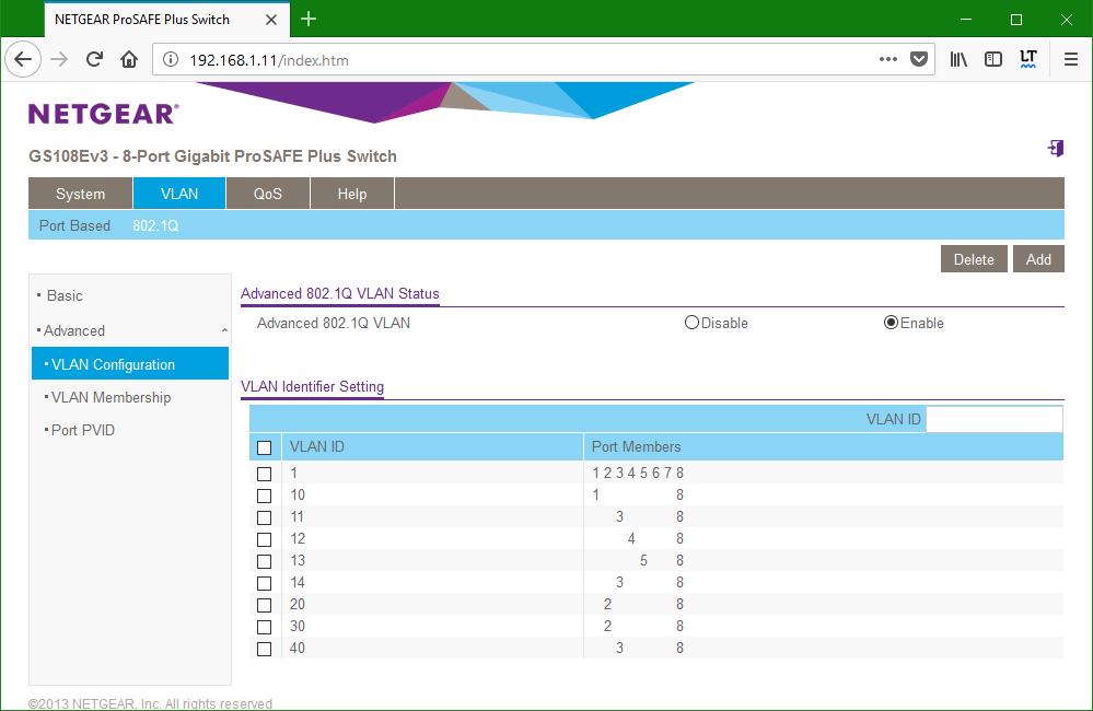 domalab.com netgear Vlan switch 1 configuration