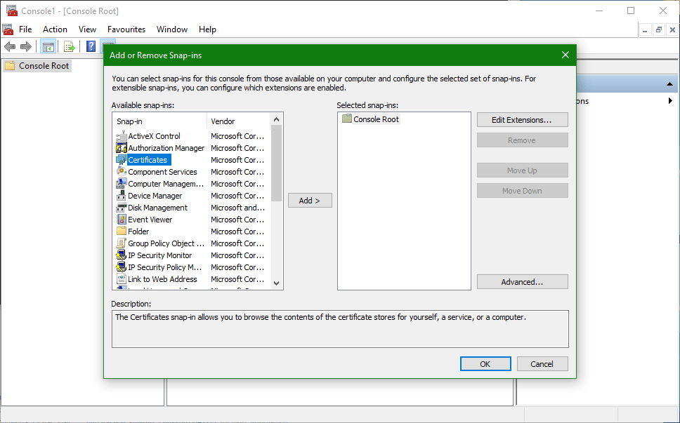 domalab.com Trusted Root CA Certificate mmc snap-in