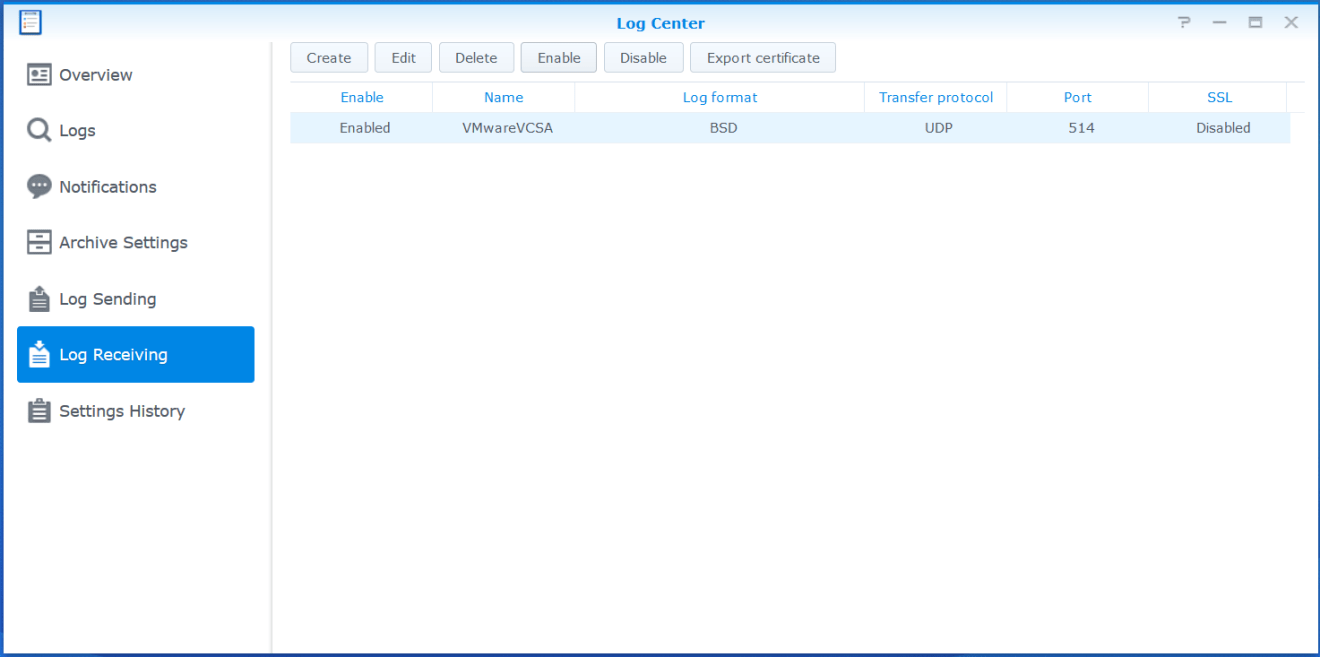 domalab.com Synology Syslog enable configuration rule