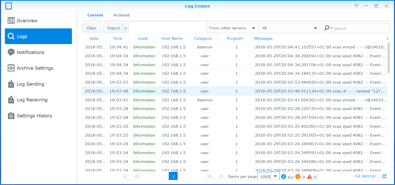domalab.com Synology Syslog view logs