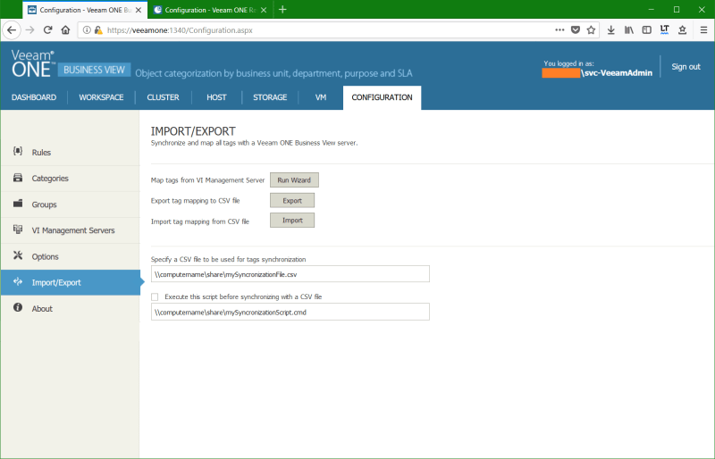 domalab.com Manage vSphere Tags Veeam One Import wizard