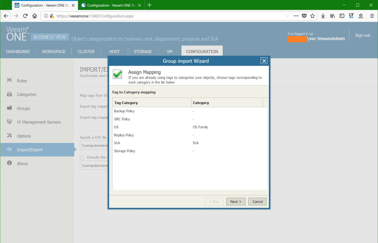 domalab.com Manage vSphere Tags Veeam One Group Import wizard
