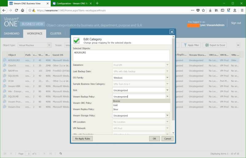 domalab.com Manage vSphere Tags Veeam One edit category