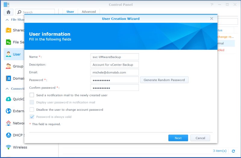 domalab.com VMware VCSA Backup Synology User wizard