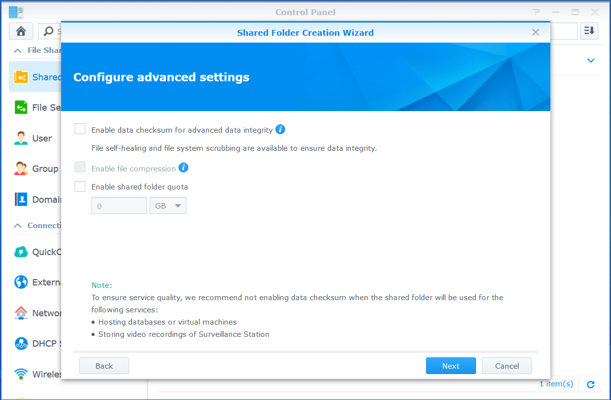 domalab.com VMware VCSA Backup shared folder advanced settings
