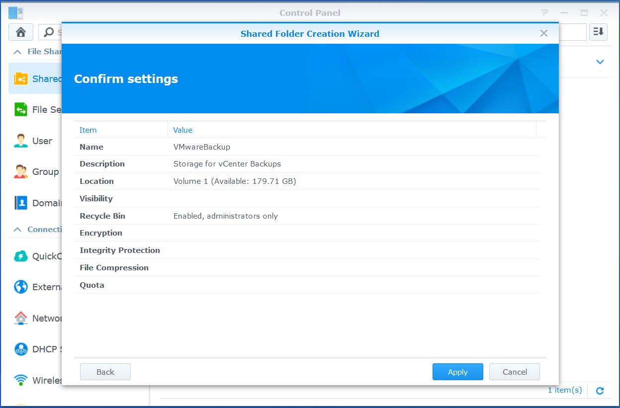 domalab.com VMware VCSA Backup synology shared folder summary